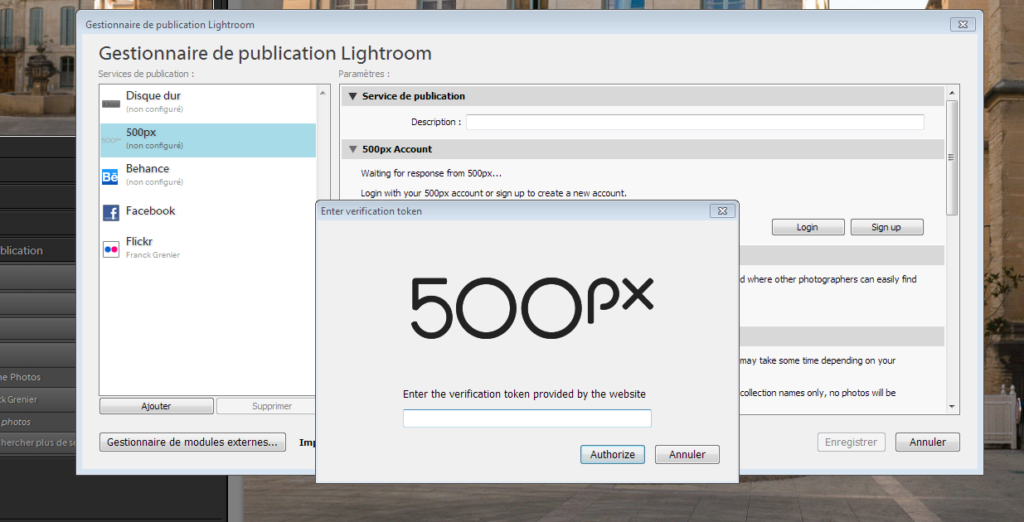Lightroom authorize 500px plugin